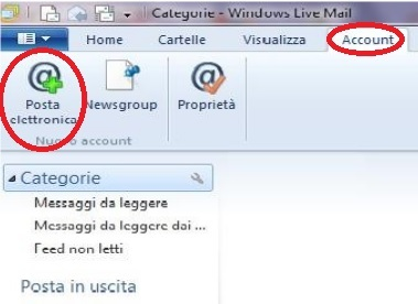 configurazione mailbox su Windows live mail