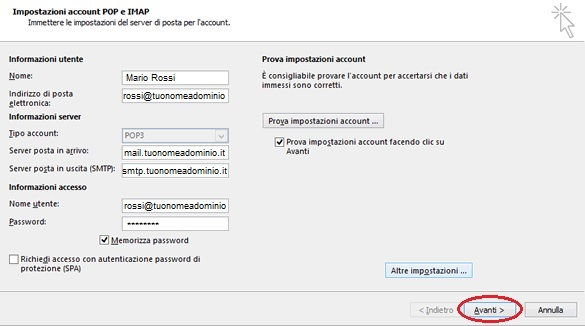 configurazione mailbox su outlook 2013